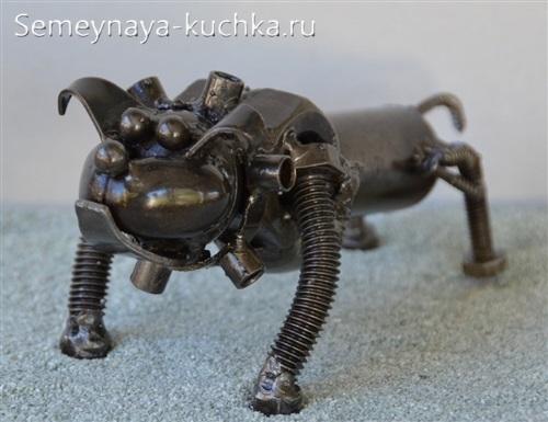 поделка из металла пес бульдог с помощью сварки
