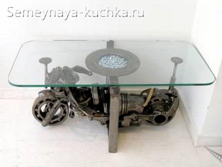интересная поделка из металла мотоцикл как ножка для стола из стекла