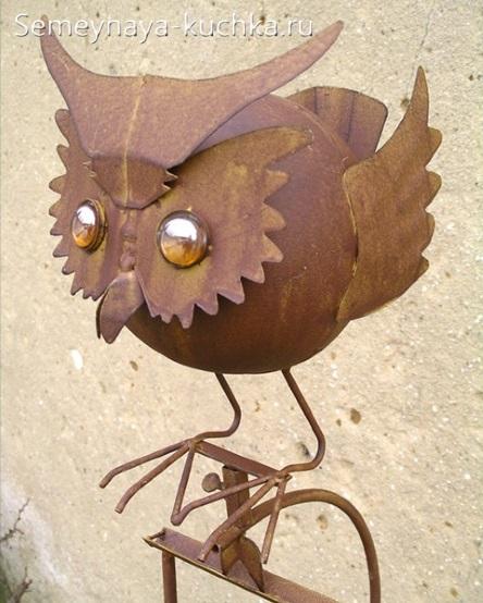 поделка из листового металла сова для дачи своими руками