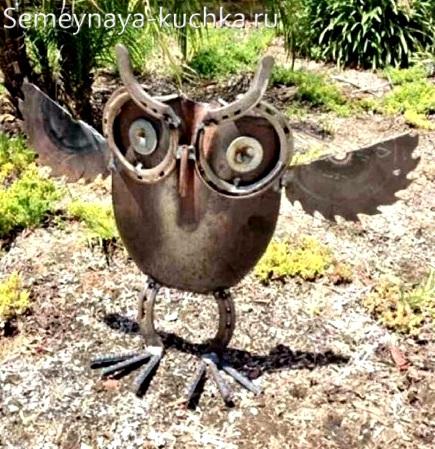 поделка из металл сова самодельная для сада и дачи