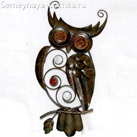 поделка из металла сова декоративная красивая