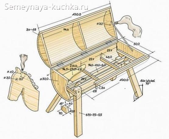 лошадка сундук из дерева для детской площадки
