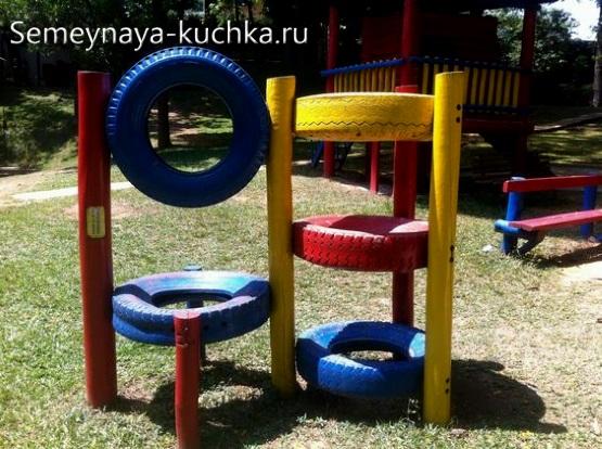 лазалка атракцион для детской площадки из покрышек