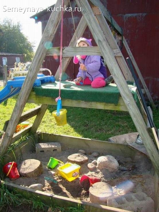 горка с песочницей для детской площадки сделать самим