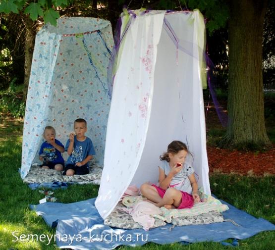 шалаш для детской площадки из обруча и ткани