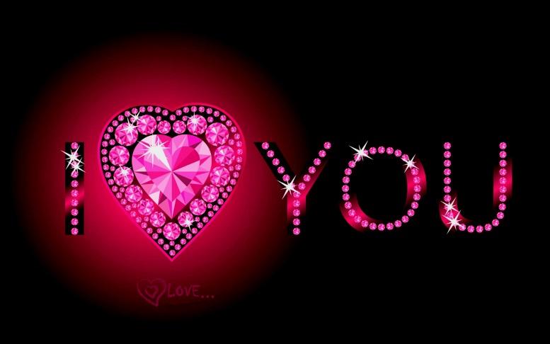 надпись картинка i love you с кристаллами