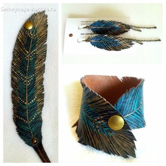 поделки из кожи перья мексиканские