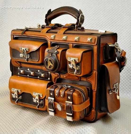 необычная сумка чемодан из кожи ручная работа