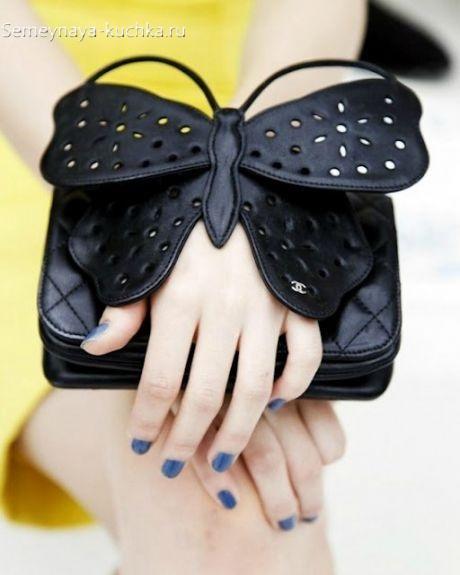 сумка клатч из кожи с бабочкой интересная модель