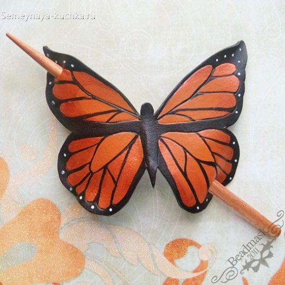 поделка из кожи бабочка заколка
