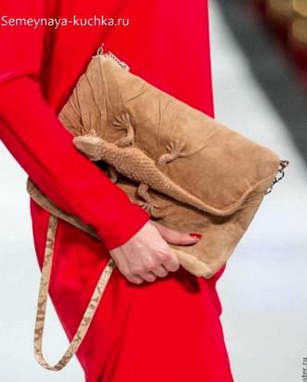 сумка с ящерицей из натуральной кожи