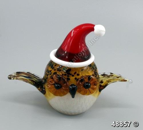 поделка сова из стекла новогодняя