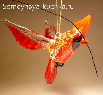 поделка из стекла красная птица