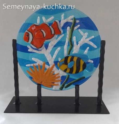 поделка из стекла декоративная тарелка панно