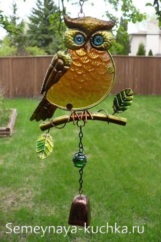 поделка дачная сова из стекла