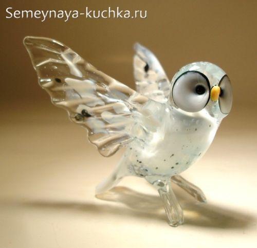 поделка из стекла белая сова