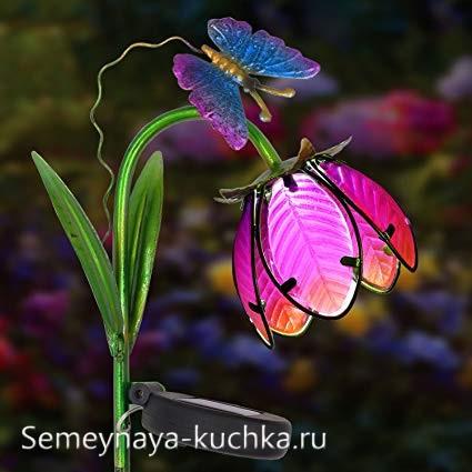 поделка цветок светильник на дачу ручная работа