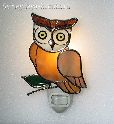 поделка светильник сова витражная техника