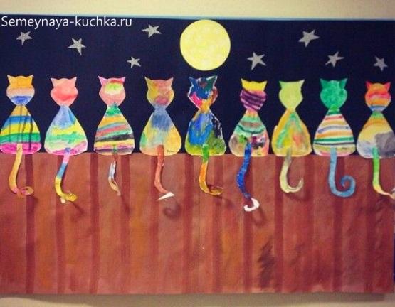 рисование в детском саду модульное коты
