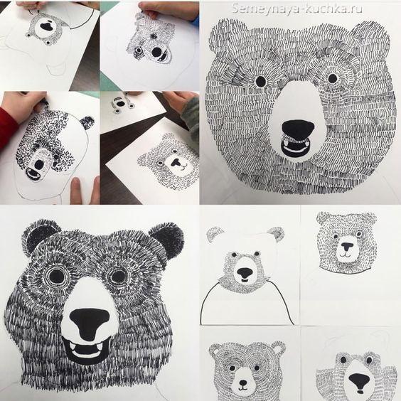 рисование в детском саду медведь мастер-класс