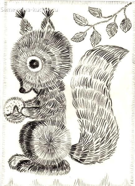 рисование в детском саду белочка штриховка