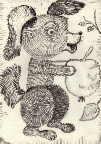 рисование в детском саду собака штриховка