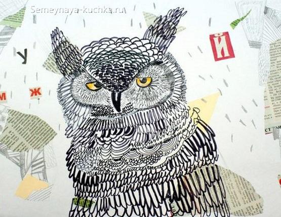 рисование в детском саду штриховка сова