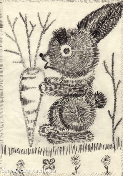 рисование в детском саду штриховка зайчик