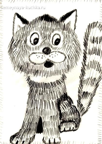 рисование в детском саду котик штриховка