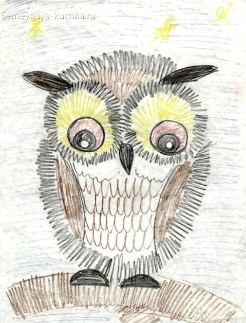 рисование в детском саду сова штриховка