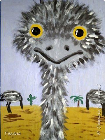 рисование в детском саду штриховка красками страус