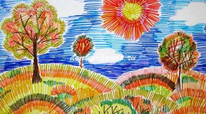 рисование пейзаж штриховка фломастерами