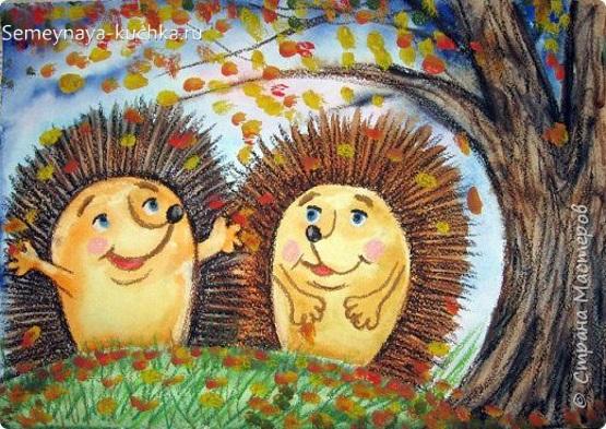 рисование осень в лесу ежики штриховка и отпечатки