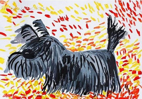 рисование в детском саду собачка штриховка красками