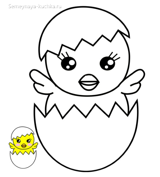 аппликация для малышей цыпленок в яйце скорлупе шаблон