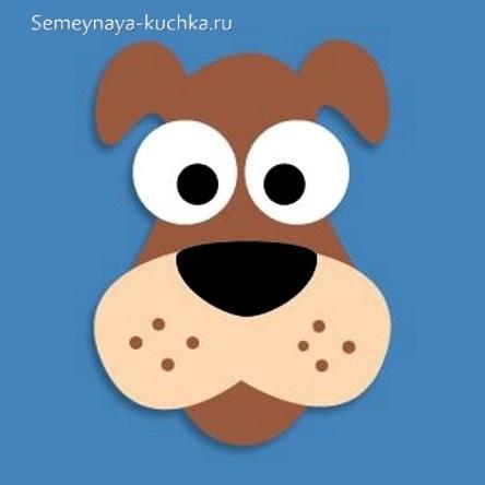 простая аппликация собака для малышей 3 лет