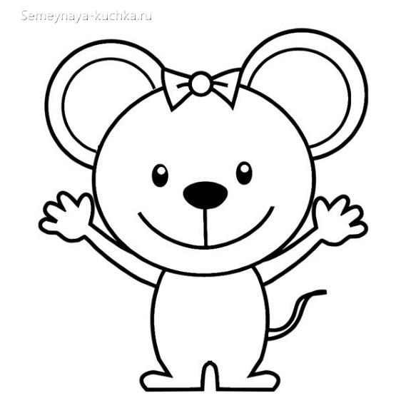 шаблон аппликация мышка для малыша в 2 года