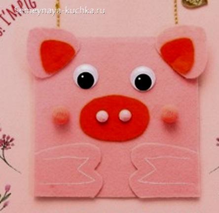 аппликация свинка для ребенка в 3 года