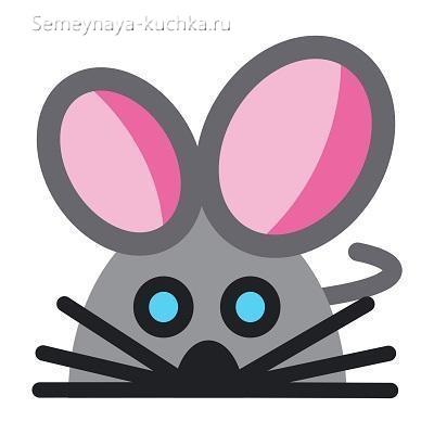 аппликация шаблон мышка для детей 3 лет