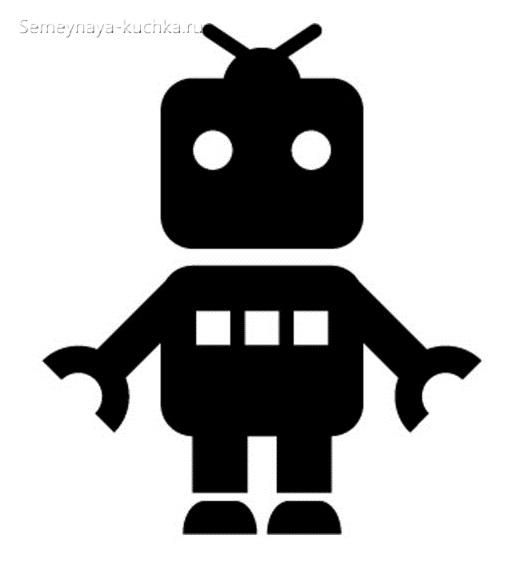 шаблон аппликация робот для ребенка в 3 года