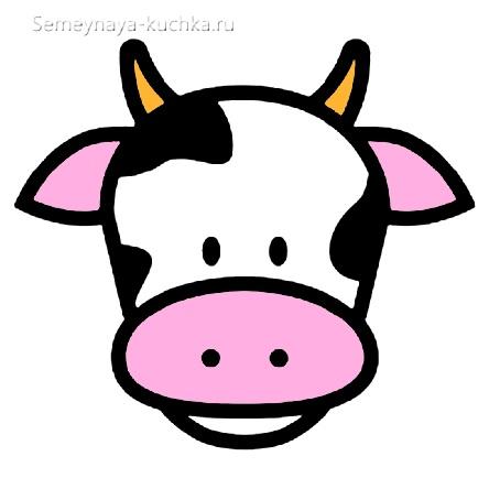 шаблон аппликации корова для малышей