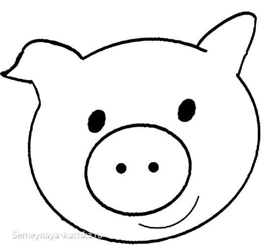 аппликация свинка шаблон для малышей 2 лет