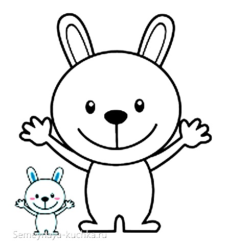 шаблон аппликации зайчик для детей 2 лет