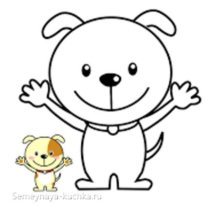 аппликация щенок шаблон для малышей