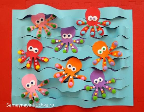 морская аппликация осьминоги для малышей 2 года