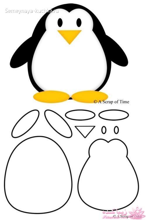 простой шаблон пингвин аппликация для малышей