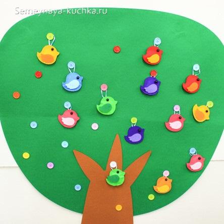 простая аппликация для малышей птички на дереве