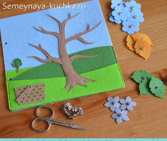 книжка из фетра детская сенсорная дерево на липучках