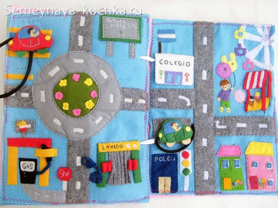 развивающая книжка из фетра для мальчиков дорога для машинок