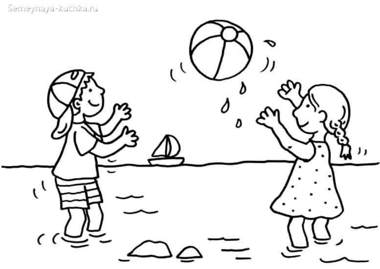 раскраска для маленьких детей на пляже